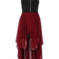 Chiffon Contrast Zip Front Hi-Lo Dress