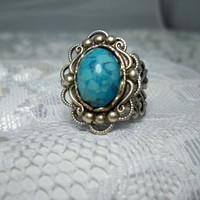 Ring - Turquoise - Vintage Style Ring - Sale - Free Shipping
