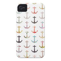 Vintage retro sailor girly floral nautical anchors iphone 4 cases from Zazzle.com