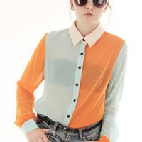 ORANGE PASTEL COLORBLOCK COLLAR SHIRT @ KiwiLook fashion