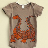 D is for Dragon - Organic Cotton - 6 - 12 mo. one-piece