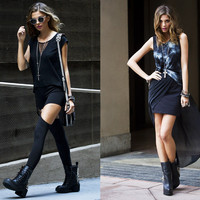 Left: Messes Tee, Garter Leggings, Factory Girl Shades, 8th Street Spike Boot; Right: Chizu Skirt, Avalos Spike Boot, Cage Cross Pendant, As
