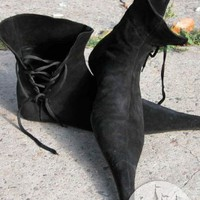 Gothic handmade medieval renaissance leather long shoes boots :ArmStreet