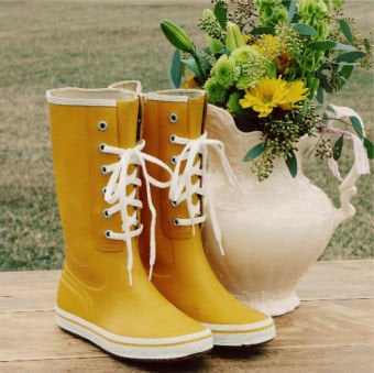 Vintage Yellow Mud Boots, Sweet Country Inspired Vintage Clothing