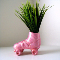 Ceramic Vase Roller Skate Planter Derby Girl Hand Painted Metallic Pink Retro Rocker Kitschy Pencil Holder Home Decor