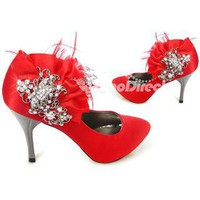 Wedding Shoes - Red Feather Crystal