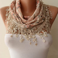 Flowered - Salmon and Beige Scarf with Trim Edge