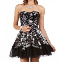 Carrie-Blk/Slv Sequin Homecoming Dress