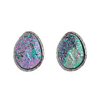 Silver Agate Rough Cut Oval Stud Earrings