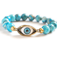 Evil Eye Bracelet - Blue Agate
