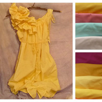 Ruffle Color Dress Honey Gold Knee Length Custom Order Yellow Saffron Patisserie Womens Blue Lavender Pink peach