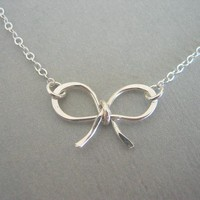 Sterling Silver Bow Necklace on Luulla