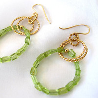 Peridot hoop earrings, green gemstone dangle earrings, gold fill