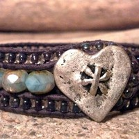 Crystal Hearts, Pastel Rondelles, Leather Cuff Bracelet, PZW109