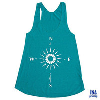 Womens Nautical TANK TOP - Racerback American Apparel Tri-Blend S M L ( 3 Colors Options)