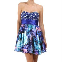 Ivette-Blue Homecoming Dress