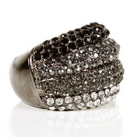 Rhinestone Striped Dome Ring