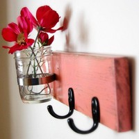 wall organizer french COTTAGE decor key hooks vase Coral