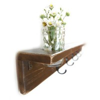 rustic wood shelf  coat hanger primitive CHOCOLATE BROWN
