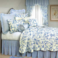 Brighton Blue Toile Standard Bedding Set | Atlantic Linens