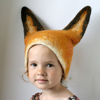 [sold out]  Fox Hat Hand Felted Wool  Size Medium/Large by vaivanat on Etsy