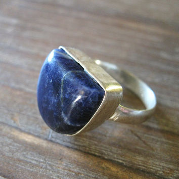 Denim Cocktail Ring - Unusual Dark Navy Blue Sodalite Half Oval In Sterling Silver - Nature Modern Stone Gift