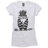 Ralik Girls Tribe Owl UV Hidden Color White Tee Shirt