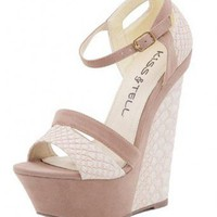 BEIGE STYLISH PATTERNED WEDGE @ KiwiLook fashion