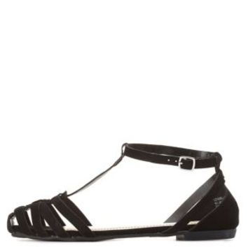 Bamboo T-Strap Huarache Sandals by Charlotte Russe - Black
