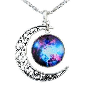 Yantu Black Purple Women's Crescent Moon Galactic Universe Cabochon Pendant Necklace