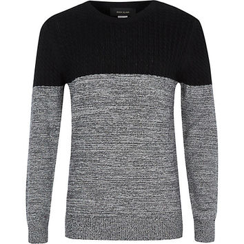 River Island Boys black and grey cable sweater
