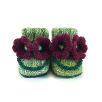 Hand Knitted Baby Booties with Crochet Purple Bell Flowers,  3 - 6 months
