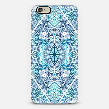 Blue and Teal Diamond Doodle Pattern iPhone 6 case by Micklyn Le Feuvre | Casetify