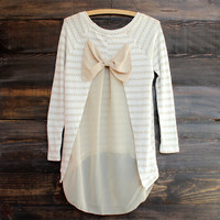 snowed in sheer bow back sweater tunic