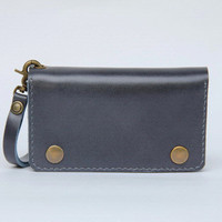 Leather iPhone wallet case with mini zipper in gray blue