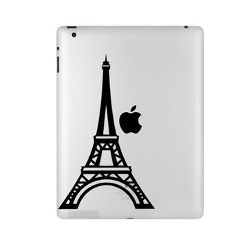 Eiffel Tower Velvet Decal - Paris Wall Decor - Black iPad Sticker - Eiffel Tower Fabric Decal