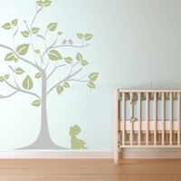 Little girl reading under a tree wall decal, vinyl decal, wall art