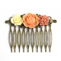 Flower Hair Comb Coral Delights on Luulla