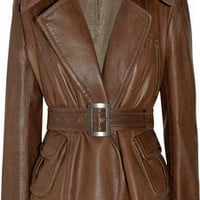 Donna Karan | Belted leather jacket | NET-A-PORTER.COM