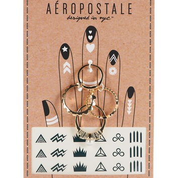 Aeropostale  Ring and Temporary Tattoo Set  Gold 6