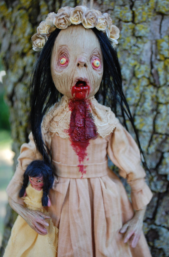 Zombie Girl Nora and her Doll Festive Dead Zombie Ornament by Kamila Woodedwoods