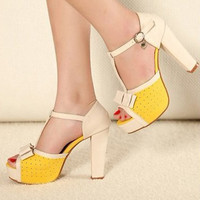 Japanese Fashion Water-Proof Thicken Sandals Yellow  : Wholesaleclothing4u.com