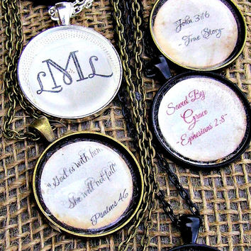 """Quote or monogram of your choice put under 1"""" magnifying glass dome. Thoughtful gift for wife, teacher, daycare, sister, mother"""