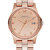 Marc by Marc Jacobs - Henry Glitz Rose Goldtone IP Stainless Steel Bracelet Watch - Saks Fifth Avenue Mobile