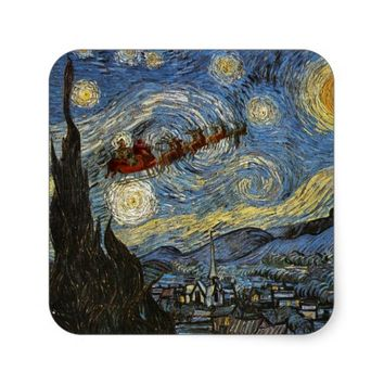 Starry Christmas Night Art Sticker