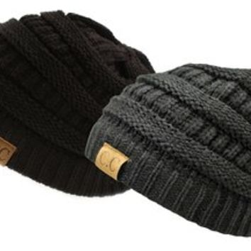 Trendy Warm Chunky Soft Stretch Cable Knit Slouchy Beanie Skully HAT20A,One Size,Gift Set-Black…
