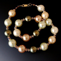 Large Swarovski Pearls Topaz Accents Necklace, Ivory, Lt Green, Cream, Olive