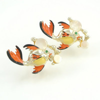 Vintage Enamel Brooch Pair, Fish Jewelry, Gold Orange Black, Mother of Pearl Bubbles, Figural Jewelry