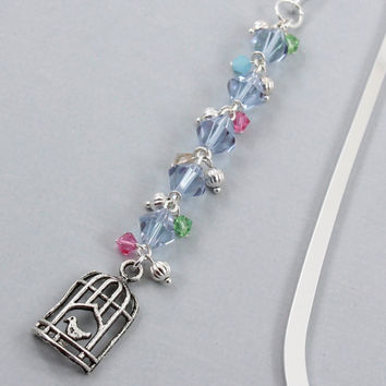 Bookmark, Beaded with Birdcage Charm, Shepherds Hook