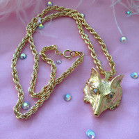 Vintage Fox Head Necklace